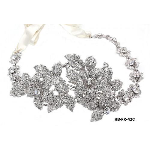 Head Band – Bridal Headpiece w/ Austrian Crystal Stones Flower - HB-FR-42C