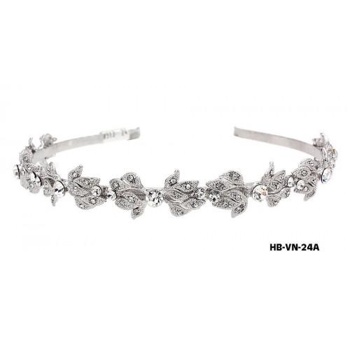 Head Band – Bridal Headpiece w/ Austrian Crystal Stones Flower - HB-VN-24A