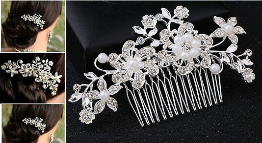 Wedding Hair Accessories Wedding Bridal Hair Comb Flower, Wedding Hair Comb Pins Crystal Diamante Pearls